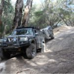 4WD and trailer going down very rough 4x4 track