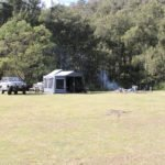 Wide view of family campsite
