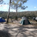 Tents set up at remote campsite