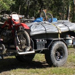 Loaded trailer ready for camping