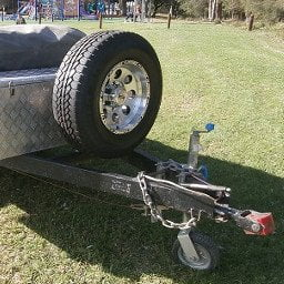 Trailer with spare tyre ready for camping